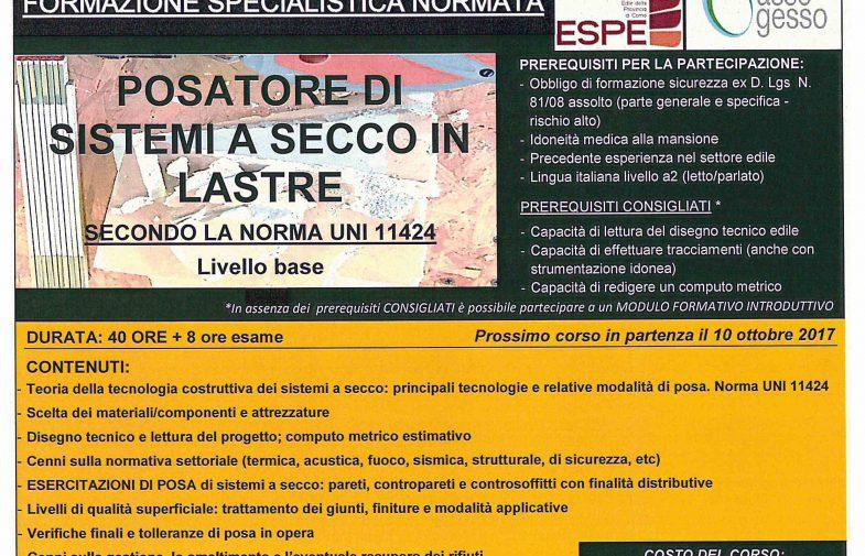 POSATORE DI SISTEMI A SECCO IN LASTRE SECONDO LA NORMA UNI 11424 – Indirizzo base