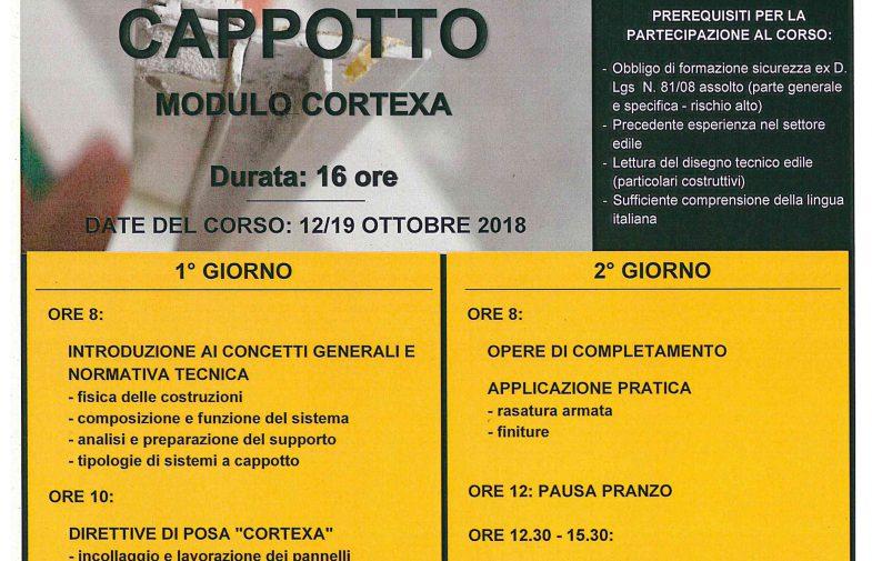 ISOLAMENTO TERMICO A CAPPOTTO – Modulo Cortexa 12-19/10/2018