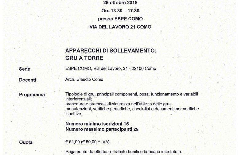 26/10/2018 APPARECCHI DI SOLLEVAMENTO: GRU A TORRE – 4 CREDITI (CFP)