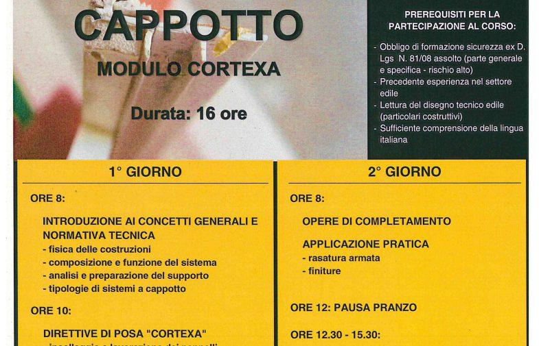 ISOLAMENTO TERMICO A CAPPOTTO – Modulo Cortexa – Il corso partirà al raggiungimento del numero minimo di iscritti – n. 6 partecipanti