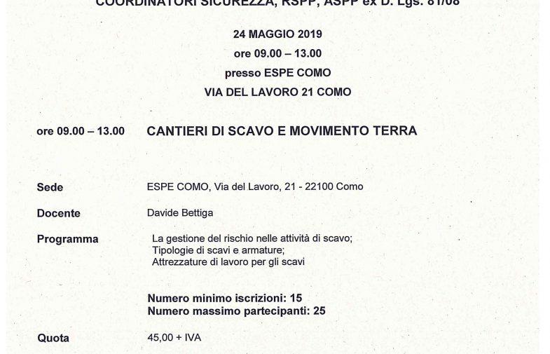 ORDINE GEOMETRI COMO – AGG. RSPP – CANTIERI DI SCAVO E MOVIMENTO TERRA