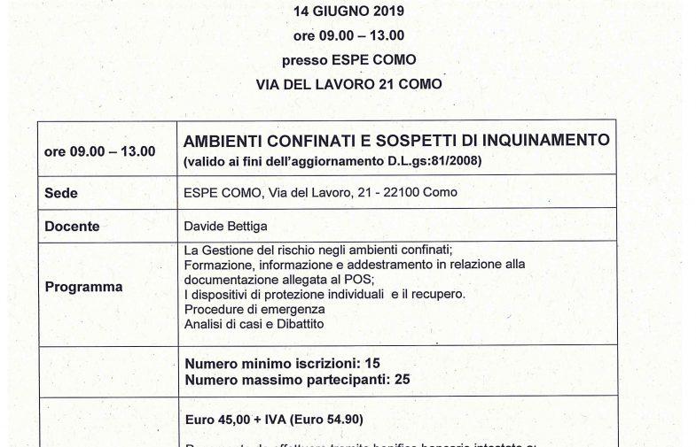 ORDINE GEOMETRI COMO – AGG. RSPP -AMBIENTI CONFINATI E SOSPETTI DI INQUINAMENTO