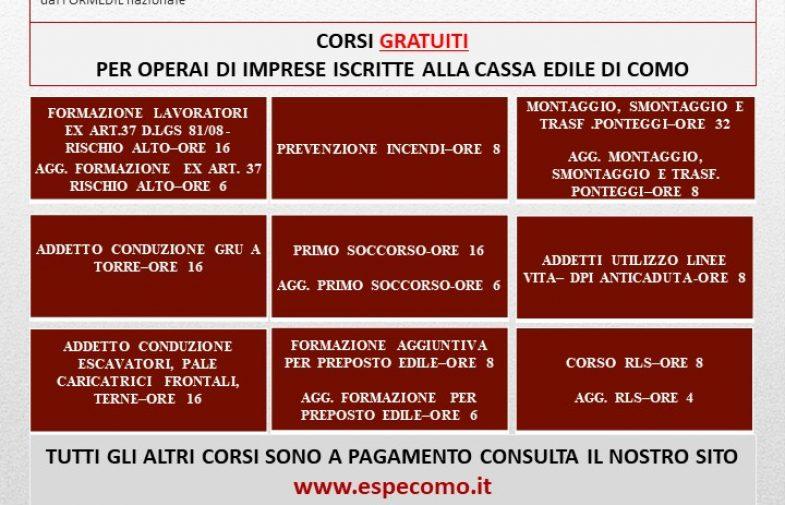 CORSI GRATUITI PER OPERAI DI IMPRESE ISCRITTE ALLA CASSA EDILE DI COMO