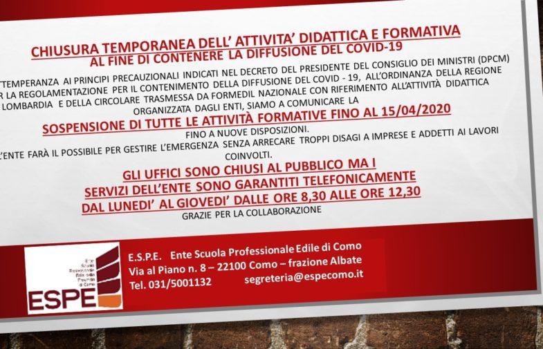 SOSPENSIONEDITUTTE LE ATTIVITÀ FORMATIVEFINO AL 15/04/2020