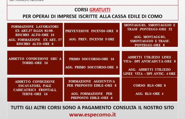 NUOVI CORSI GRATUITI PER OPERAI DI IMPRESE ISCRITTE ALLA CASSA EDILE DI COMO – AGG. PREV. INCENDI E AGG. DPI
