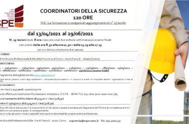 COORDINATORE DELLA SICUREZZA – 120 ORE – DAL 13/04/2021 AL 29/06/2021