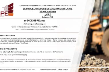 LE PROCEDURE PER L'ESECUZIONE DI SCAVI E SBANCAMENTI – 10/12/20 – CORSO FAD