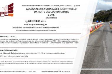 LA SEGNALETICA STRADALE E IL CONTROLLO DA PARTE DEL COORDINATORE – 13/01/2021 – CORSO FAD