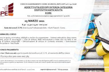 ADDETTI UTILIZZO DPI DI TERZA CATEGORIA – DISPOSITIVI ANTICADUTA – 05/03/2021