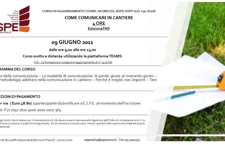 COME COMUNICARE IN CANTIERE – 09/06/2021 – CORSO FAD