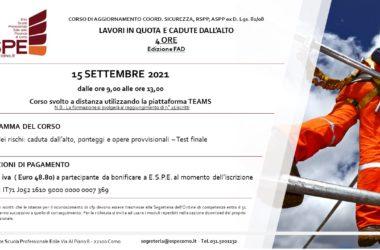 LAVORI IN QUOTA E CADUTE DALL'ALTO – 15/09/2021 – CORSO FAD