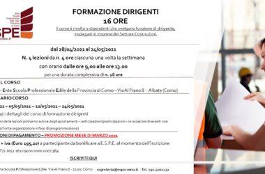 FORMAZIONE DIRIGENTI – 16 ORE – PROMOZIONE MARZO/APRILE 2021