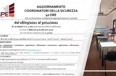 AGGIORNAMENTO COORDINATORI DELLA SICUREZZA – 40 ORE – dal 28/09/2021 al 30/11/2021