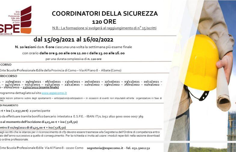 COORDINATORE DELLA SICUREZZA – 120 ORE – dal 15/09/2021 al 16/02/2022