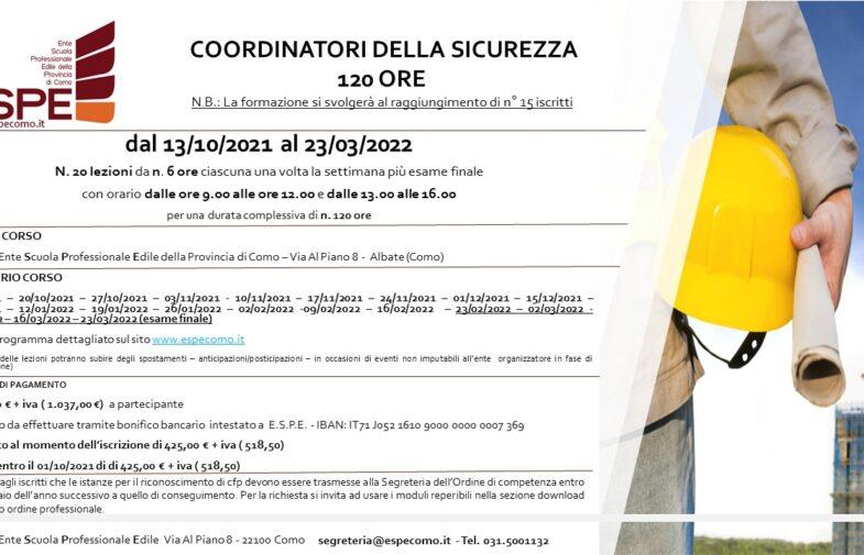 COORDINATORE DELLA SICUREZZA – 120 ORE – dal 13/10/2021 al 23/03/2022