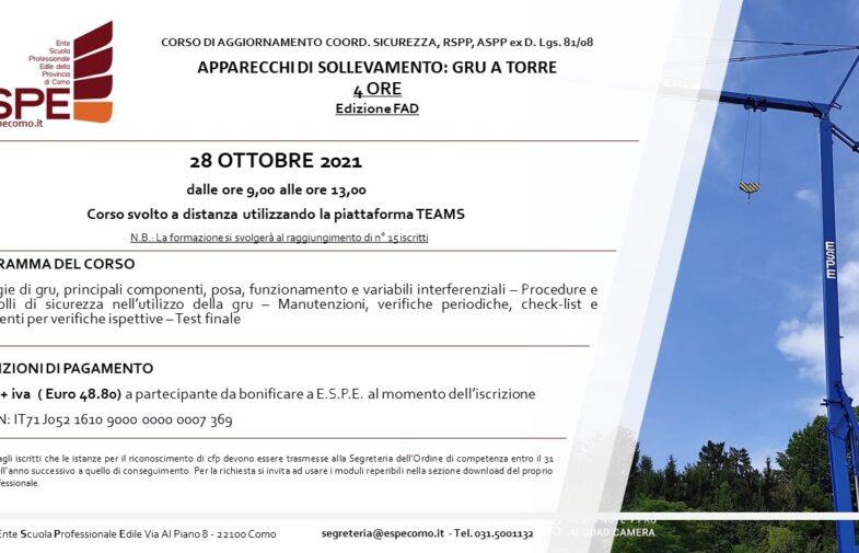 APPARECCHI DI SOLLEVAMENTO: GRU A TORRE – 28/10/2021 – CORSO FAD