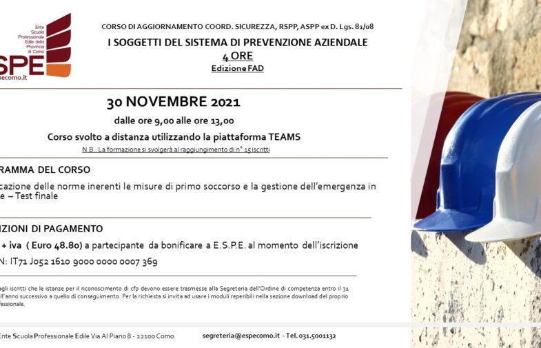 I SOGGETTI DEL SISTEMA DI PREVENZIONE AZIENDALE – 30/11/2021 – CORSO FAD