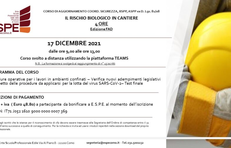 IL RISCHIO BIOLOGICO IN CANTIERE – 17/12/2021 – CORSO FAD
